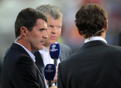 Manchester United captain Roy Keane speaks to Adrian Chiles and Gareth Southgate