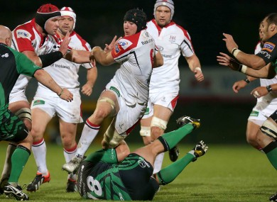 Stephen Ferris of Ulster vaults Connacht prop Nathan White.