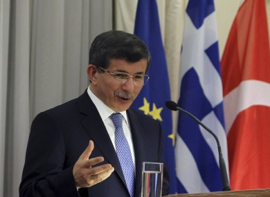 Turkish Foreign Minister Ahmet Davutoglu speaking today