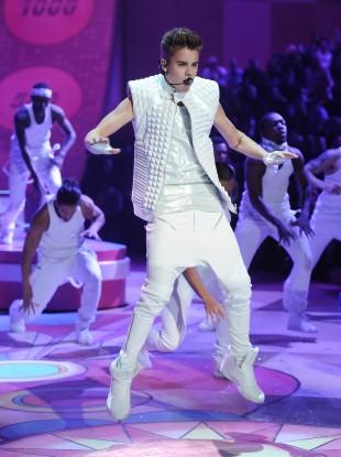 Justin Bieber displays his ridiculous trousers in his trademark mating ritual