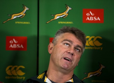 South Africa head coach Heyneke Meyer looks up as he speaks during a press conference at a hotel in London yesterday.