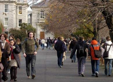 Students on Trinity College campus, Dublin.
