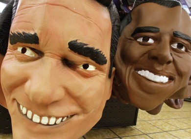Halloween masks of Mitt Romney and Barack Obama in Illinois last week.