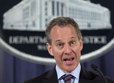 New York Attorney General Eric Schneiderman at a news conference yesterday