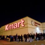 Shoppers wait in line for deals at the Addison Street store Chicago.    (John Konstantaras/AP Images for KMART)