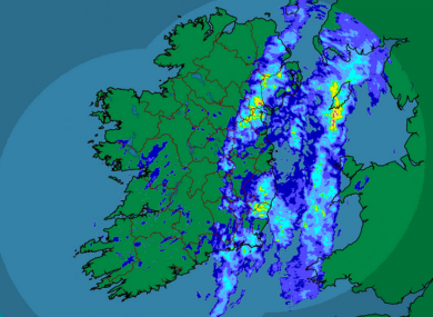 Met Éireann's rainfall radar as of 7am showed significant rain over the east of the country - though the rest of Ireland also got its fair share of battering overnight.