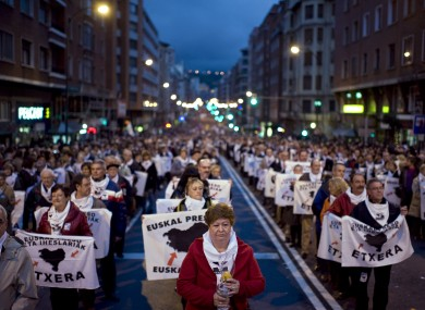 Thousands of pro-independence Basque citizens march in a rally calling for a general amnesty for more than 700 ETA prisoners earlier this year.