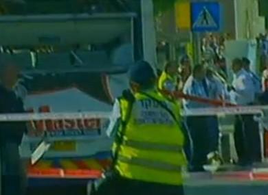 The scene of the bus blast in Tel Aviv