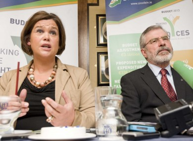 Mary Lou McDonald and Gerry Adams at the launch of their alternative budget this morning.