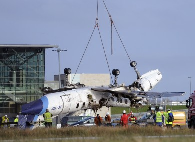The remains of the Manx2 flight that crashed on landing at Cork airport in February 2011.