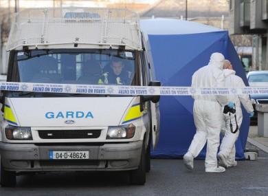 Gardaí at the scene on Reuben Street earlier today