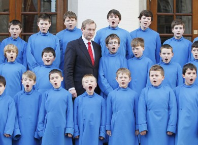 Members of the Palestrina choir on the steps of Government Buildings in Dublin with Taoiseach Enda Kenny last week