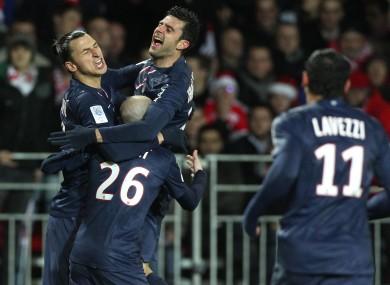 Zlatan Ibramiovic celebrates with Thiago Motta.