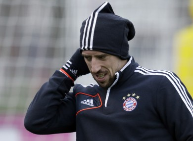 Munich's Franck Ribery of France arrives for a training session prior to their Champions League group F soccer match against FC Bate Borisov.