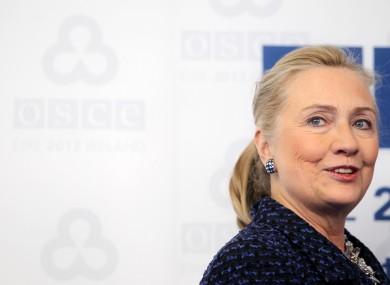 Hillary Clinton in Dublin yesterday