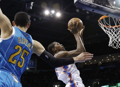 Oklahoma City Thunder forward Kevin Durant was on fire on Friday evening.