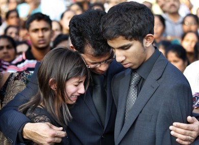 Jacinta Saldanha's family at her funeral in southwest India earlier this month.