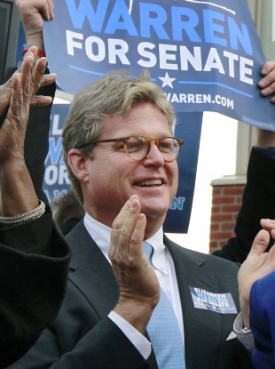 Ted Kennedy Jr at a campaign event for the newly-elected Massachusetts senator Elizabeth Warren in November.