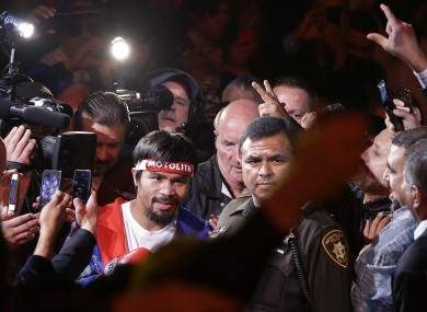 Manny Pacquiao makes his way to the ring before fighting Juan Manuel Marquez.