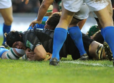 Julian Salvi dives over to score against Treviso.