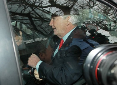 Seán FitzPatrick is driven away from Dublin District Court after being remanded on bail f