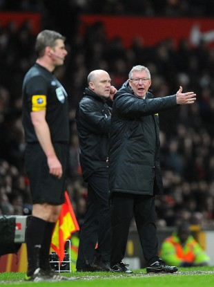 An animated Alex Ferguson on the sideline yesterday.