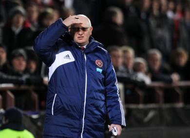 Heart's manager John McGlynn during a recent game.