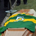 The No 5 Kerry jersey adorns the remains of Páidí Ó Sé at the graveside in Ventry.