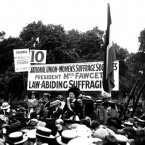 Millicent Fawcett, who founded the National Union of Women's Suffrage, speaks at the Suffragette Pilgrimage in Hyde Park in July 1913. (PA Archive)