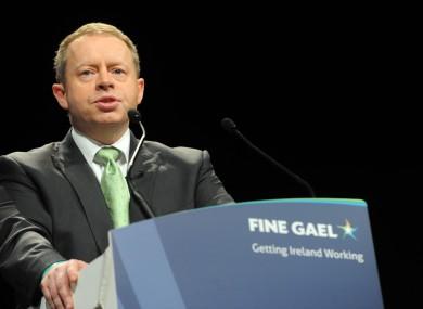 Ciarán Cannon speaking at the Fine Gael Ard Fheis last year.