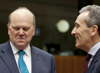 Michael Noonan with his Italian counterpart Vittorio Grilli at a meeting of EU finance ministers this week.