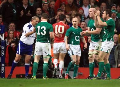 Irish players protest to Jonathan Kaplan.