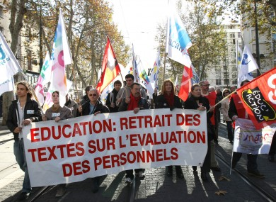 Teachers demonstrating in Marseille, southern France, in 2011 (file photo).
