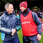 Old friends meet - part 2. Once they faced off on the pitch, Jim Gavin (Dublin) and Anthony Rainbow (Kildare). Now they face off on the sideline, Jim Gavin (Dublin) and Anthony Rainbow (Carlow).