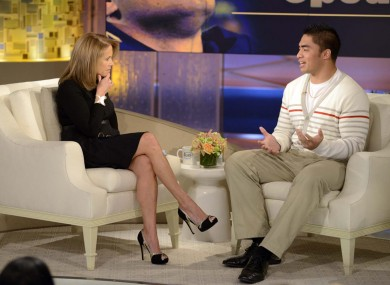 Notre Dame linebacker Manti Te'o, right, speaking with host Katie Couric during an interview for