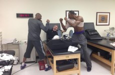 Snapshot: Kobe Bryant tries to kill the story about the fight with a fellow Laker… with this picture