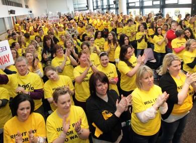 The rally held by nurses/midwives at Croke Park last week.