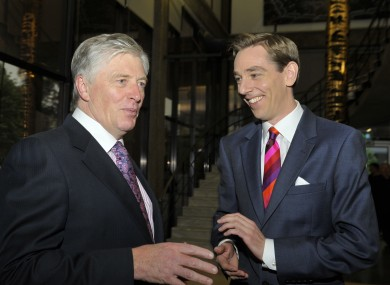 Pat Kenny and Ryan Tubridy, seen last year as the Late Late Show marked its 50th anniversary.