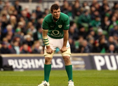 Peter O'Mahony catches a breather against Argentina.