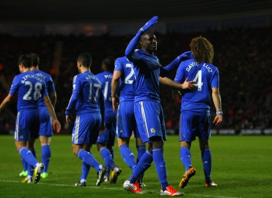 Chelsea's Demba Ba celebrates scoring his side's fourth goal of the game.