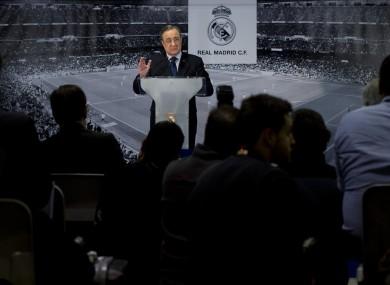 No trouble: Real Madrid president Florentino Perez addresses the media today.