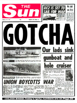 The Sun's famous headline from 1982 after Britain sank Argentina's General Belgrano navy cruiser.