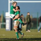 Alison Miller and Sophie Spence celebrate at the final whistle. ©INPHO/Dan Sheridan