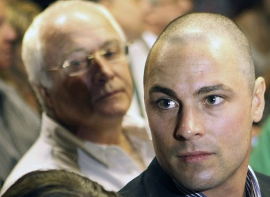 Carl Pistorius, right, and Henke Pistorius, the brother and father of Olympic athlete Oscar Pistorius (file photo).