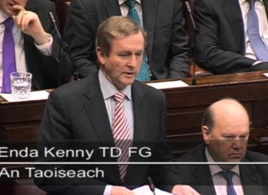 Enda Kenny in the Dáil this morning
