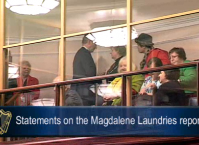 Enda Kenny meets Magdalene survivors in the Dáil's public gallery last night