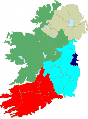 The current setup of Ireland's European constituencies - a setup which cannot be maintained if Ireland is to lose one MEP.