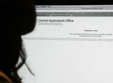 A student checks the Central Applications Office web site.