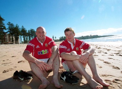 Keith Wood and Brian O'Driscoll on the 2001 Lions tour.