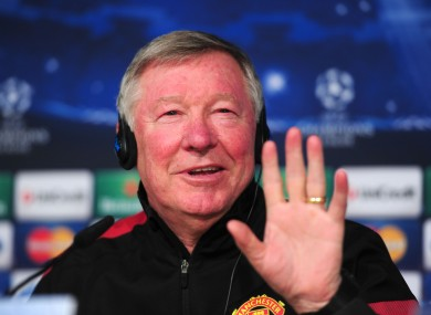 Manchester United's coach Alex Ferguson chats to the press during the press conference at Santiago Bernabe